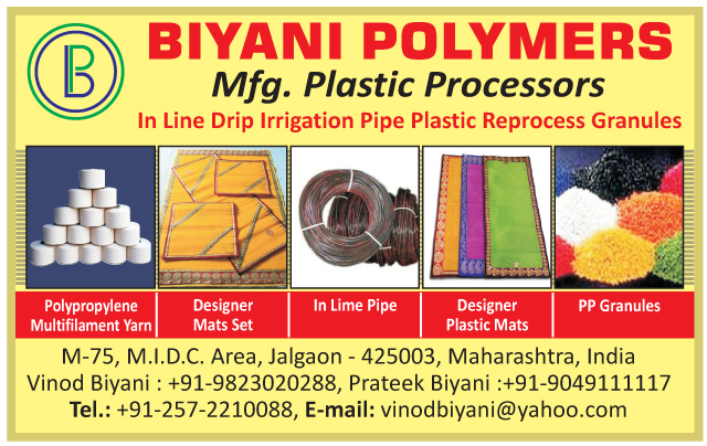 Plastic Processors, In Line Drip Irrigation Pipe Plastic Reprocess Granules, Polypropylene Multifilament Yarn, Designer Mat Sets, In Lime Pipes, Plastic Mats, PP Granules