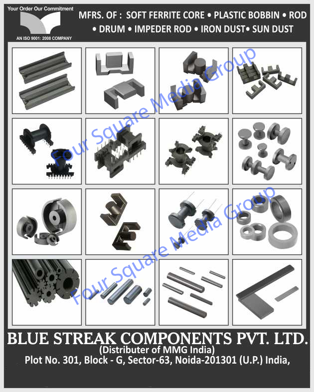 Soft Ferrite Cores, Plastic Bobbins, Rod, Drums, Impeder Rod, Iron Dust, Sun Dust