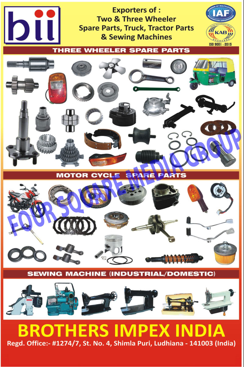 Two Wheeler Spare Parts, Three Wheeler Parts, Truck Parts, Tractor Parts, 2 Wheeler Spare Parts, 3 Wheeler Spare Parts, Sewing Machines, Motorcycle Spare Parts