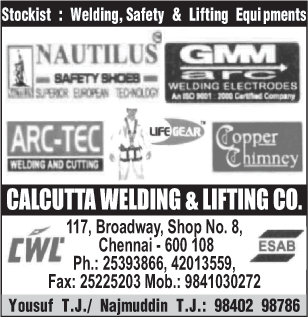 Welding Equipments, Safety Equipments, Lifting Equipments, Welding Electrodes, Safety Shoes, Safety Harness, Safety Products