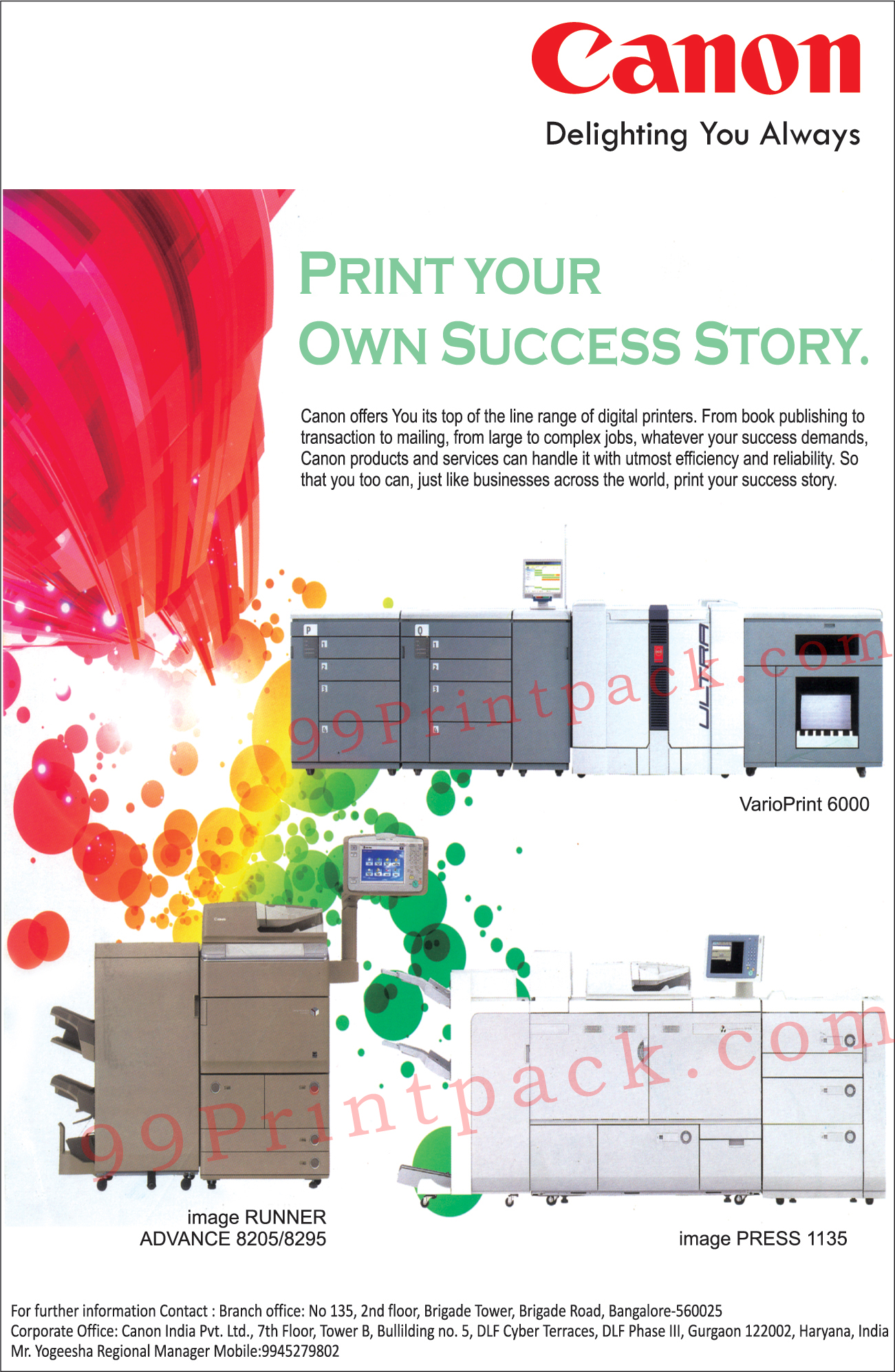 Image Runner, Vario Print, Image Press, Digital Printer, Printer, Scanner, Fax Machines, Projectors