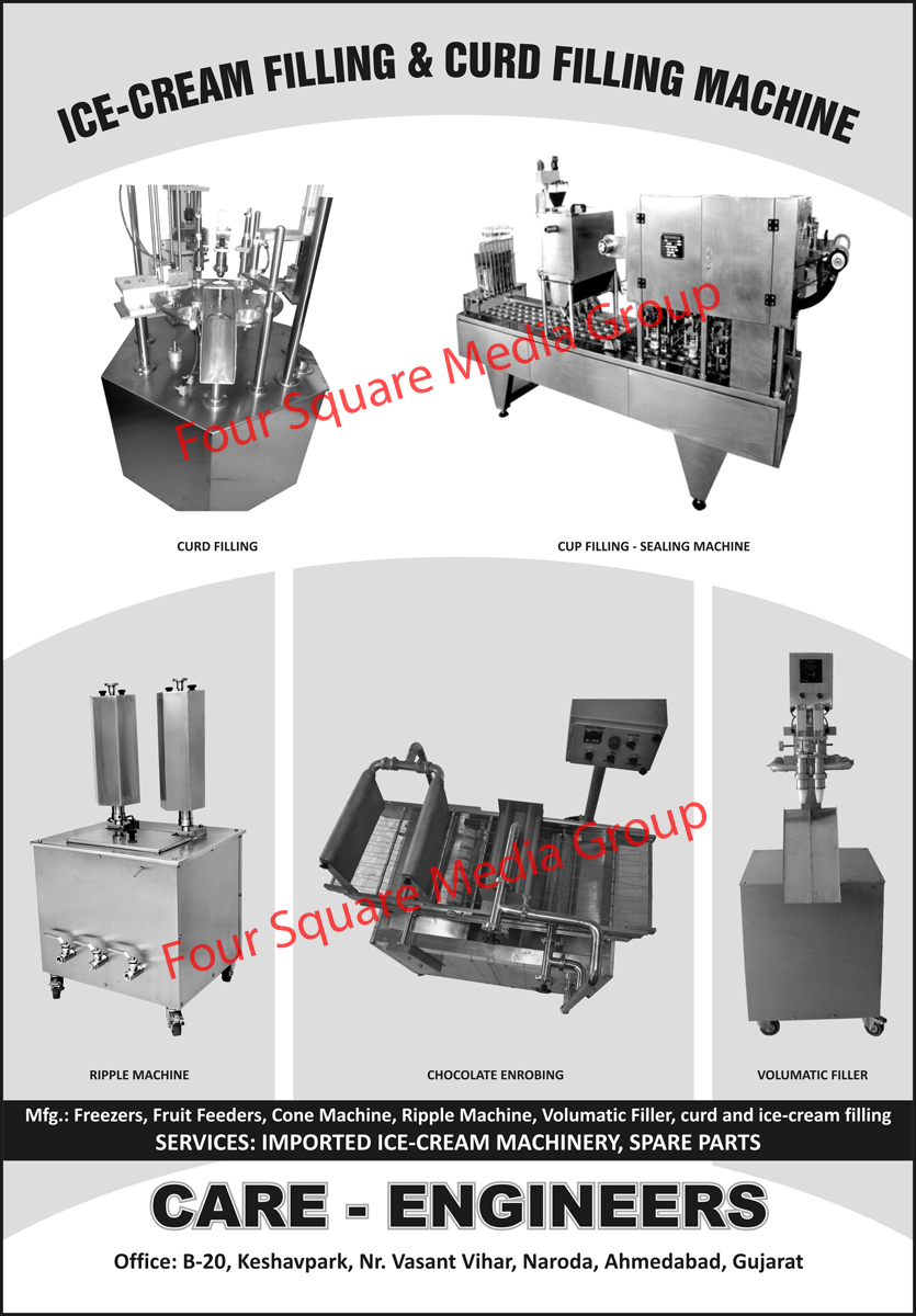 Ripple Machines, Chocolate Enrobing, Volumatic Fillers, Cup Filling Machines, Cup Sealing Machines, Curd Filling Machines, Ice Cream Filling Machines, Freezers, Fruit Feeders, Cone Machines,Volumetric Fillers