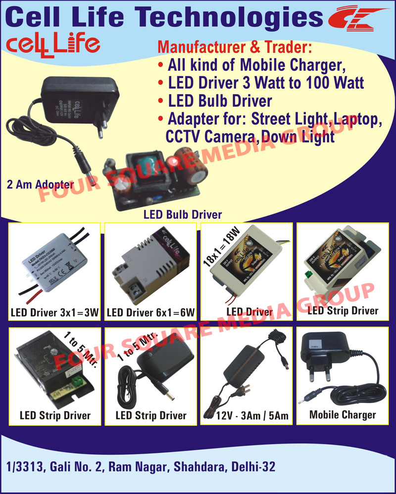 Mobile Chargers, LED Drivers, LED Bulb Drivers, Street Light Adapters, Laptop Adapters, CCTV Camera Adapters, Down Light Adapters, LED Strip Drivers