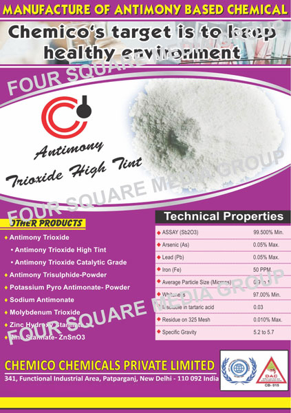 Antimony Trioxide High Tint, Antimony Trioxide Catalytic Grade, Zinc Hydroxy Stannate, Zinc Stannate, Molybdenum Trioxide, Antimony Based Chemicals, Antimony Trisulphide Powders, Potassium Pyro Antimonate Powders, Sodium Antimonate, ZnSnO3, Antimony Based Chemicals