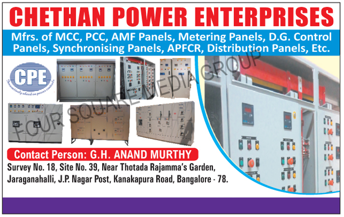 MCC, PCC, AMF Panels, Metering Panels, DG Control Panels, Synchronising Panels, APFCR, Distribution Panels,