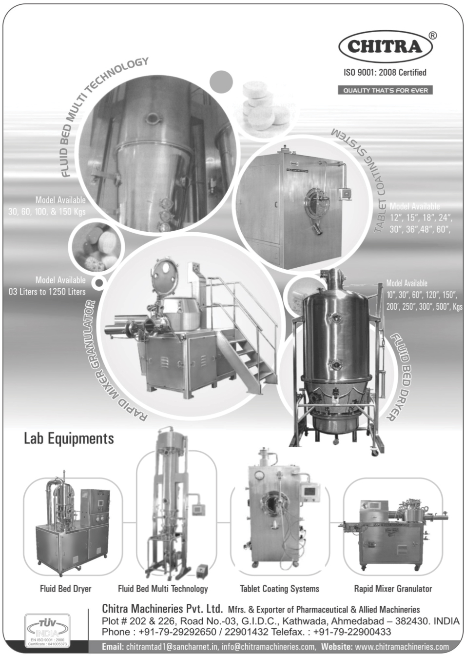 Laboratory Equipments, Fluid Bed Dryers, Fluid Bed Multi Technology, Tablet Coating Systems, Rapid Mixer Granulators,