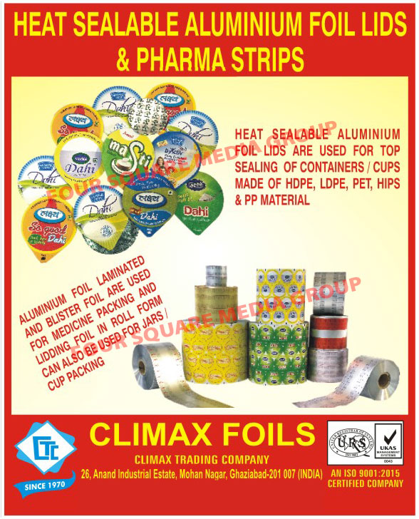 Heat Sealable Aluminium Foil Lids, Pharma Strips, Aluminium Foil Laminated And Blister Foils