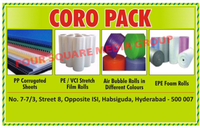 PP Corrugated Sheets, PE Stretch Film Rolls, Air Bubble Rools, Coloured Air Bubble Rools, EPE Foam Rolls