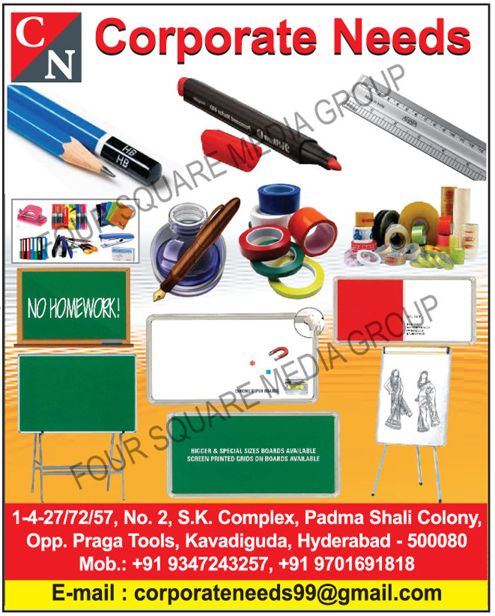 Stationary Products, Ruler, Scale, Pencils, Ink Pens, Permanent Markers, Paper Punch Machines, Report Files, Tapes, Steplars, Steplar Pins, College Notebooks, Display Files, Writing Boards, Ceramic Writing Boards, Green Boards, White Boards