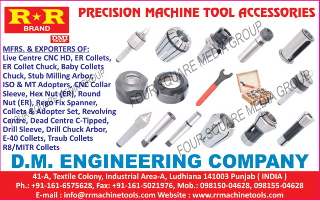 Precision Machine Tool Accessories, Live Center CNC HD, ER Collets, ER Collet Chucks, Baby Collet Chucks, Stub Milling Arbor, CNC Collar Sleeve, Hex Nut, Round Nut, Rego Fix Spanners, Collet Sets, Adopter Sets, Revolving Centre, Dead Centre C Tipped, Drill Sleeve, Drill Chuck Arbor, E40 Collets, Traub Collets, MITR Collets, R8 Collets