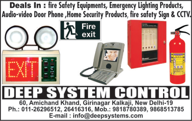 Fire Safety Equipments, Emergency Light Products, Audio Video Door Phones, Home Security Product, Fire Safety Sign, Cctv, Fire Extinguishers,