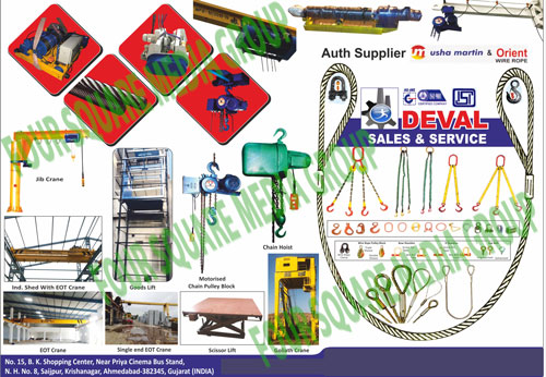 EOT Cranes, Hoist, Motorised Chain Blocks, Electrical Trolleys, Goods Lifts, Goods Lift Spare Parts, Wire Ropes, Slings, Web Slings, Eye Hooks, Bow Shackles, Safe Track Systems, HOT Cranes, D Shackle