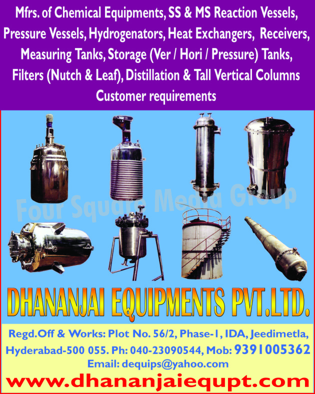 Chemical Equipments, SS Reaction Vessels, MS Reaction Vessels, Pressure Vessels, Hydrogenators, Heat Exchangers, Pressure Leaf Filters, Pressure Nutsche Filters, Pressure Storage Tanks, Distillation Columns, Tall Vertical Columns, Measuring Tanks, Horizontal Storage Tanks, Vertical Storage Tanks,Vessels, Heat Exchanger, Measuring Tanks, Storage Tanks, Filters