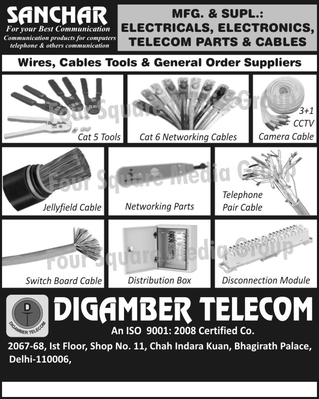 Cat five Tools, Cat Six Networking Cables, CCTV Camera Cable, Jellyfield Cable, Networking Parts, Telephone Pair Cables, Switch Board Cables, Distribution Box, Disconnection Modules, Electrical Parts, Electronic Parts, Telecom Parts, Electrical Cables, Electronic Cables, Telecom Cables, Cable Tools, Wire Tools, Jelly field Cable