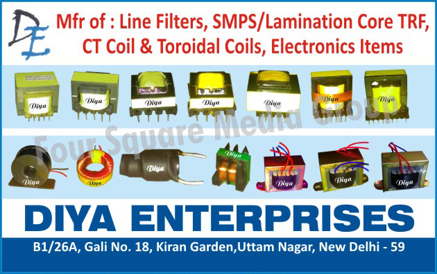 Electronic Items, Line Filters, TRF SMPS Cores, TRF Lamination Cores, CT Coils, Toroidal Coils,