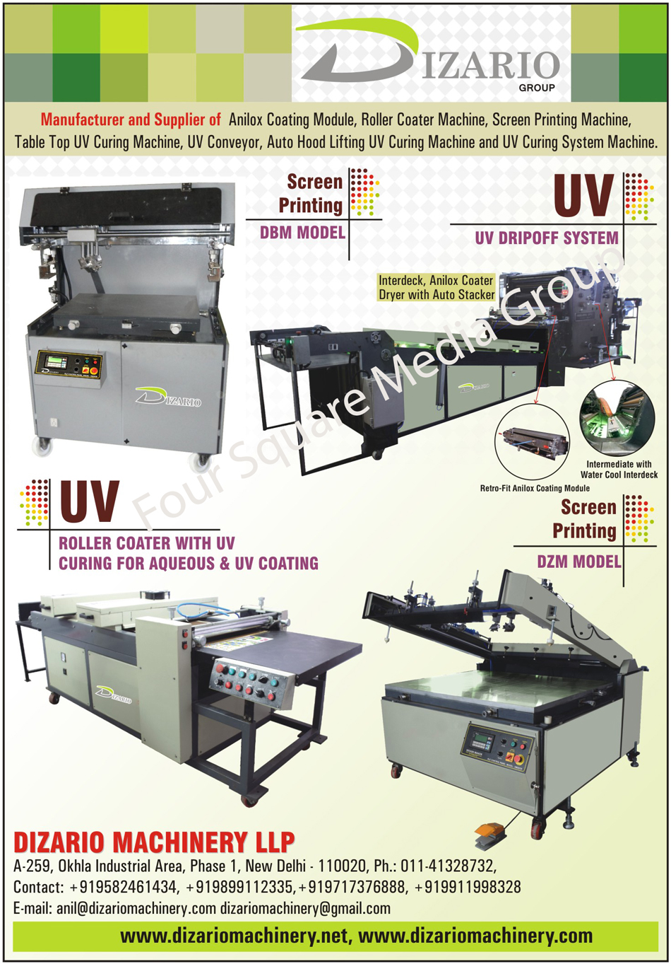 Anilox Coating Modules, Roller Coater Machines, Screen Printing Machines, Table Top UV Curing Machines, UV Conveyors, Auto Hood Lifting UV Curing Machine, UV Curing System Machines, Interdeck Coater Dryers, Anilox Coater Dryers