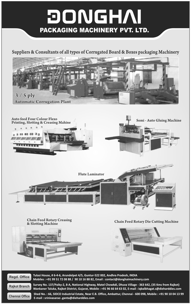 Die Cutting Machines, Creasing Machines,  Slotting Machines, Chain Feed Rotary Die Cutting Machines, Flute Laminators, Auto Feed Four Colour Flexo Printing Machines, Slotting Machines, Creasing Machines, Semi Automatic Gluing Machines, Corrugated Board Packaging Machines, Corrugated Box Packaging Machines, Gluing Machines, Flexo Printing Machines