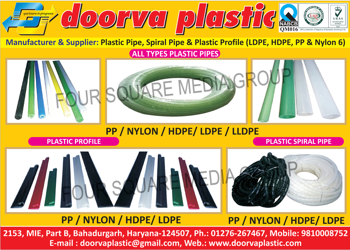 PP Plastic Pipes, Nylon Plastic Pipes, HDPE Plastic Pipes, LDPE Plastic Pipes, LLDPE Plastic Pipes, PP Plastic Profiles, Nylon Plastic Profiles, HDPE Plastic Profiles, LDPE Plastic Profiles, PP Plastic Spiral Pipes, Nylon Plastic Spiral Pipes, HDPE Plastic Spiral Pipes, LDPE Plastic Spiral Pipes