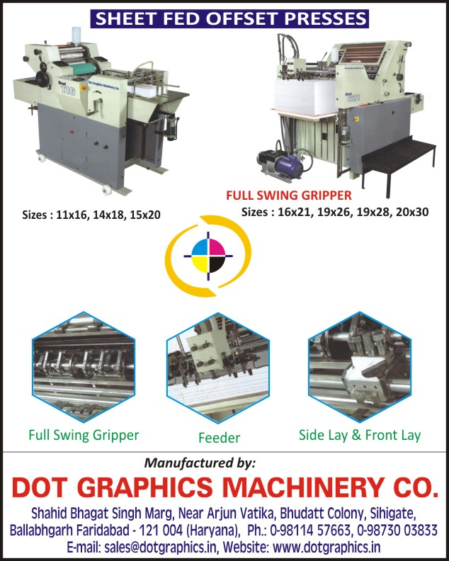 Sheet Fed Offset Press, Sheet Fed Offset Printing Machine With Full Swing Gripper
