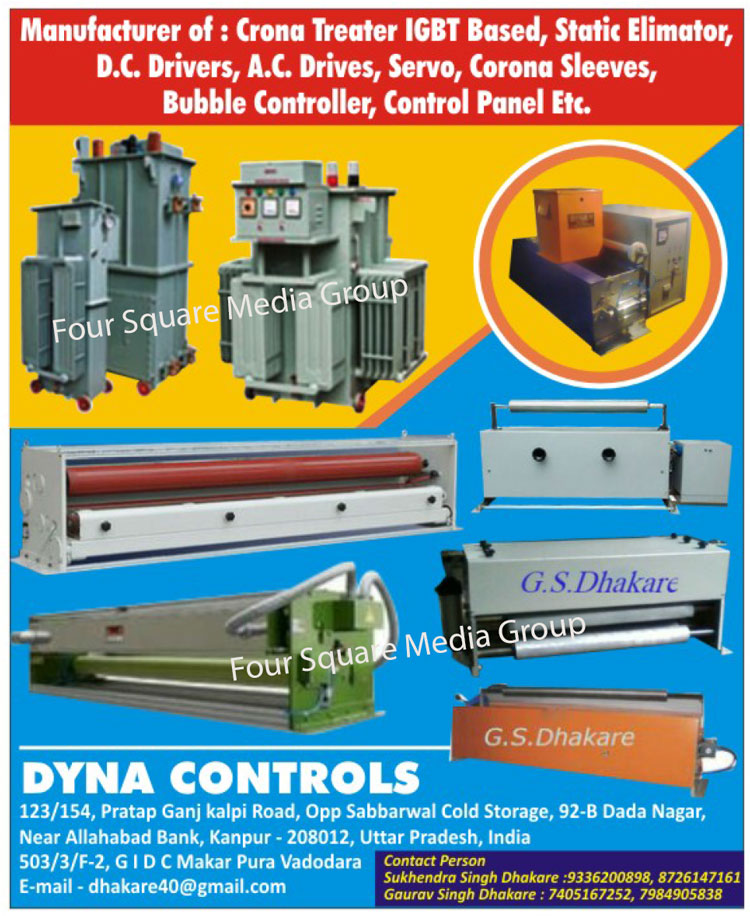 Transformers, DC Motors, Batteries Chargers, Inverters, Electroplating Rectifiers, Control Panels, Welding Machines, Welding, IGBT Based Crona Treater, Static Elimator, DC Drivers, AC Drivers, Servo Motor, Corona Sleeves, Bubble Controllers