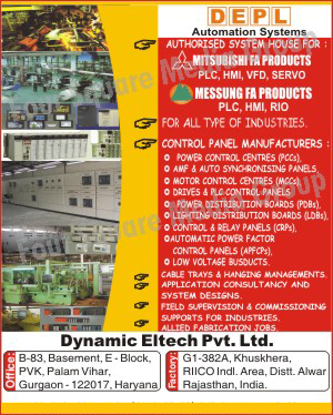 Electrical Control Panels, Power Control Centres, Auto Synchronising Panels, AMF Synchronising Panels, PLC Control Panels, Drive Control Panels, Power Distribution Boards, Relay Panels, Automatic Power Factor Control Panels, Low Voltage Bus Ducts, Electrical Cable Trays, Allied Fabrication Jobs,