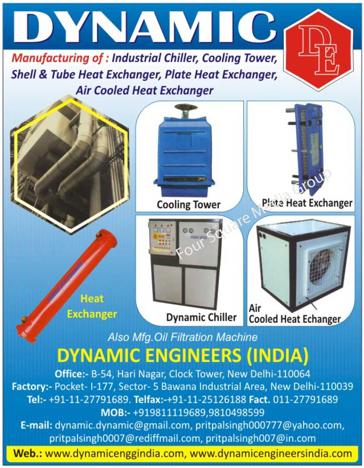 Industrial Chillers, Cooling Towers, Plate Heat Exchangers, Air Cooled Heat Exchangers, Dynamic Chillers, Shell Heat Exchangers, Tube Heat Exchangers, Heat Exchangers, Oil Filtration Machines