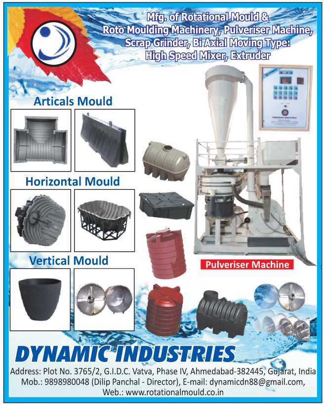 Rational Moulds, Roto Moulding Machinery, Pulveriser Machines, Scrap Grinders, Bi Axial Moving Type High Speed Mixers, Extruders, Atical Moulds, Horizontal Moulds, Vertical Moulds