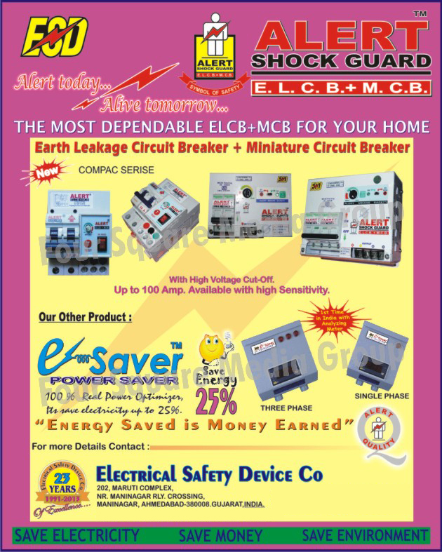 Earth Leakage Circuit Breaker, Miniature Circuit Breaker, MCB, Power Saver Three Phase, Power Saver Single Phase, ELCB