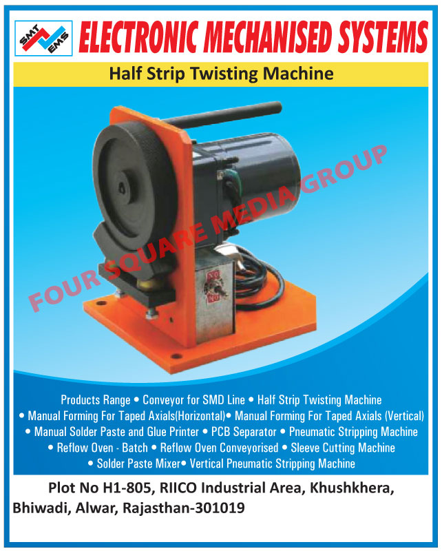 Half Strip Twisting Machines, Conveyor For SMD Lines, Manual Forming For Horizontal Taped Axials, Manual Forming For Vertical Taped Axials, Manual Solder Paste, Glue Printers, PCB Separators, Printed Circuit Board Separators, Pneumatic Stripping Machines, Batch Reflow Ovens, Conveyorised Reflow Ovens, Sleeve Cutting Machines, Solder Paste Mixers, Vertical Pneumatic Stripping Machines