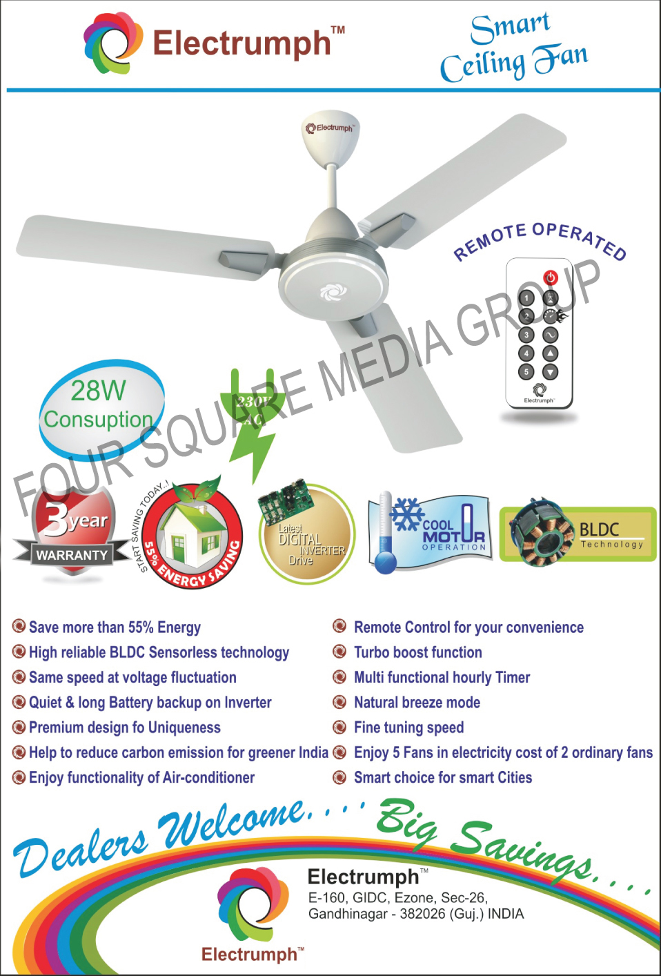 Ceiling Fans, Remote Operated Ceiling Fans