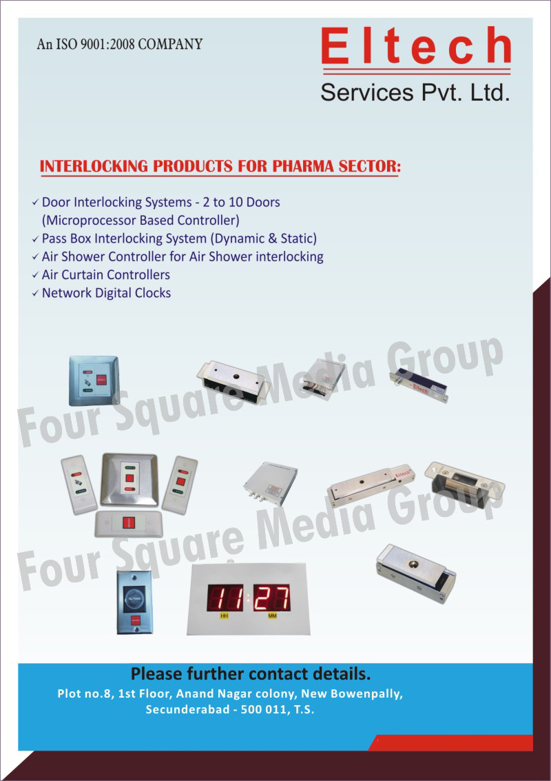 Interlocking Products For Pharma Sectors, Door Interlocking Systems, Dynamic Pass Box Interlocking Systems, Air Shower Controller For Air Shower Interlocking, Air Curtain Controllers, Network Digital Clocks, Static Pass Box Interlocking Systems
