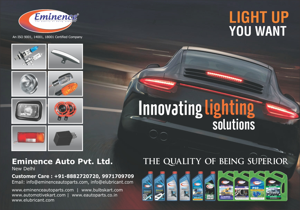 Eminence Auto Pvt Ltd, manufacturer of Automotive Bulbs, Automotive Relays, Automotive Wiring Harness, Automotive Wires, PVC Adhesive Tapes, Automotive lights, Auto lights, Tail Lights,  Bike Led Indicators, Auxiliary Lamps, Automotive Fuse Boxes, Head Lamps, Tail Lights, Led Blinkers, Duel Head Lamp Relays, PVC Tape, Automotive Wires, Automotive Lubricants, Automotive Greases, Automotive Care Products , Car Care Products, Coolant, Automotive Oil, Industrial Oil,Automotive Halogen lamps, horn, electric relay, fuse, Bulbs, Air Filters, Oil Filters, Pin Relays, 3 Pin Holders, Three Pin Holders, Dual Head Lamp Relays, Hydraulic Oils, Gear Oils, Tail Lamps, Stop Lamps, All Purpose Grease, Antifreeze Coolants, Pumping Set Oil, Industrial Lubricants, Speciality Lubricants,Automotive Filters