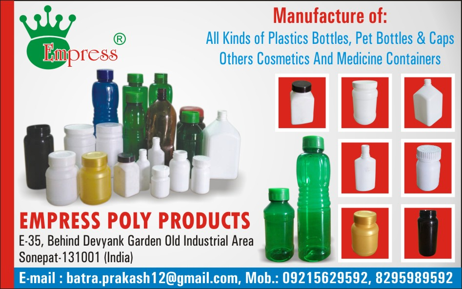 Plastic Bottles, Pet Bottles, Caps, Cosmetic Containers, Medicine Containers