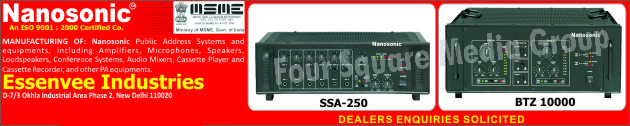 Public Address Systems, Public Address Equipments, Amplifiers, Microphones, Speakers, Loudspeakers, Conference Systems, Audio Mixers, Cassette Players, Cassette Recorders, PA Systems, PA Equipments