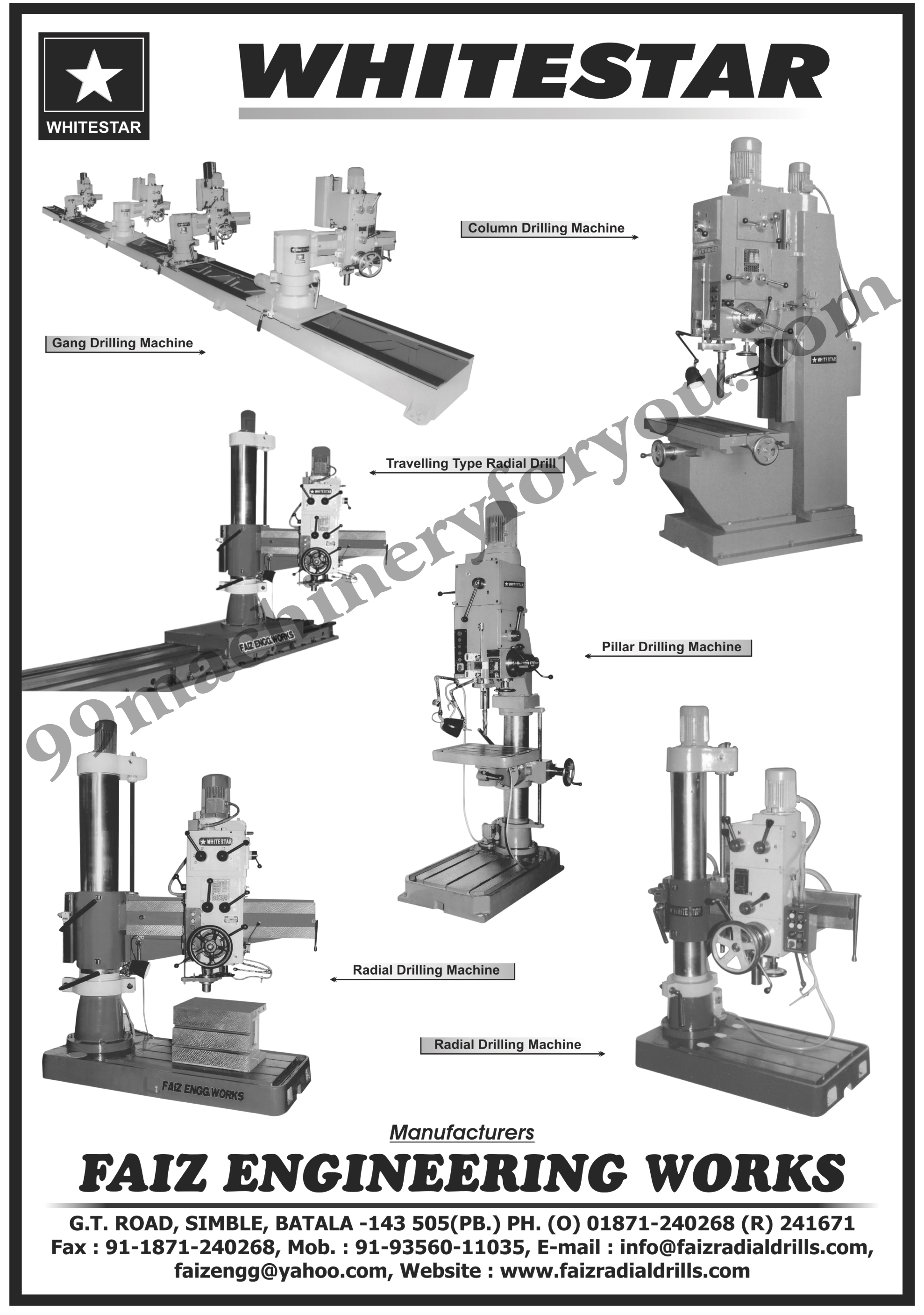 Radial Drilling Machines, Gang Drilling Machines, Column Drilling Machines, Travelling Type Radial Drill, Pillar Drilling Machines, ,Vertical, Horizontal, Tilting Tables, Multi Drilling Machines, Pillar Type Drilling Machines Mining, Exploration Drilling Machinery, Drilling Machinery
