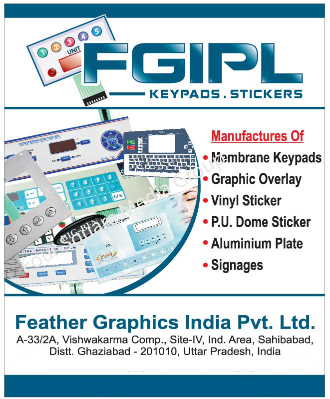 Membrane Keypads, Graphic Overlay, Vinyl Stickers, PU Dome Stickers, Aluminum Plates, Signages,