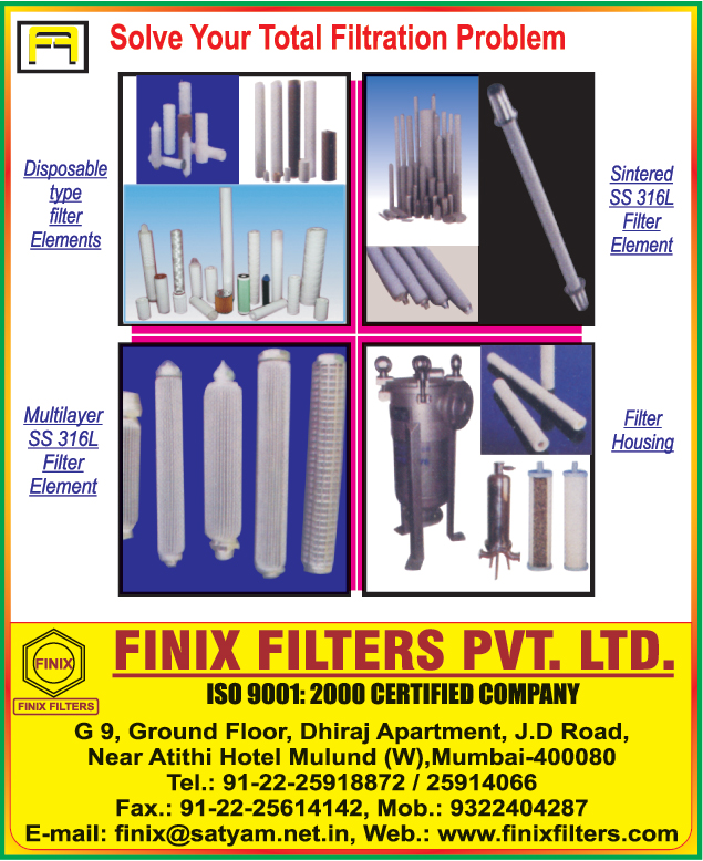 Disposable Type Filter Elements, Sintered Filter Elements, Multilayer Filter Elements, Filter Housing,