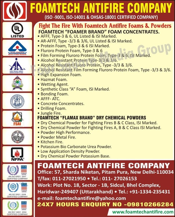 Fire Fighting Dry Chemical Powders, Foam Concentrates