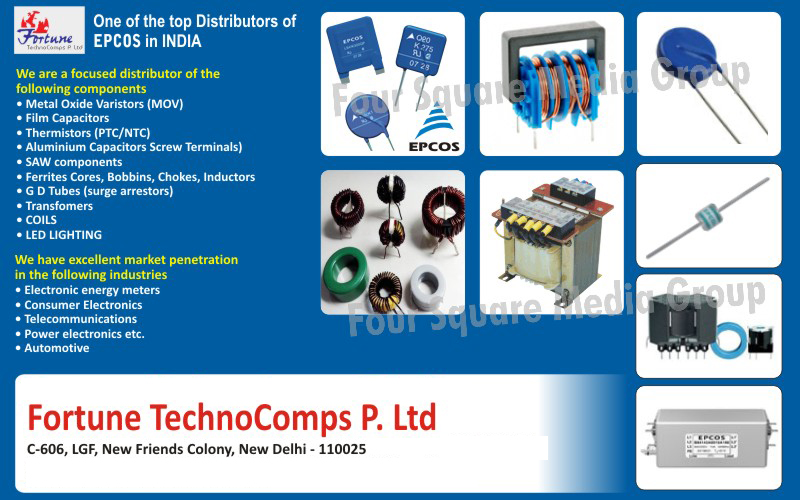 MOV, Metal Oxide Varistors, Film Capacitors, PTC Thermistors, NTC Thermistors, Aluminium Capacitors Screw Terminals, SAW Components, Ferrite Cores, Bobbins, Chokes, Inductors, Surge Arrestors GD Tubes, Transformers, Coils, Led Light, Led Light Components