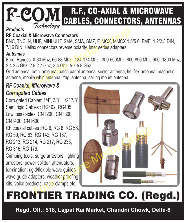 RF Cables, Coaxial Cables, Microwave Cables, Microwave Connectors, Coaxial Connectors, RF Connectors, Antennas, Patch Panel Antennas, Heliflex Antenna, Magnetic Antennas, Mobile Whip Antennas, Yagi Antennas, Ceiling Mount Antennas, Corrugated Cables, Crimping Tools, Surge Arresters, Lightning Arresters, Power Splitters, Weather Proofing Kits, Cable Clamps, Voice Products, Wave Guide Adaptors,Cables, Connectors Antenna, Grid Antenna, Sector Antenna, Heliflex Antenna, Microwave Cables, Corrugated Cables, Heliax Cable, Round Shell Connectors, Rack Connectors, Panel Connectors, RF Coaxial Connectors, Rf Microwave Connectors, RF Coaxial Cables