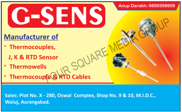 J Type Thermocouples, K Type Thermocouple, RTD Sensors, Thermowells, RTD Cables