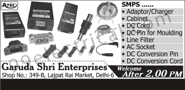 Adaptors, Chargers, Cabinets, DC Cords, Moulding DC Pins, Line Filters, AC Sockets, DC Conversion Pins, DC Conversion Cords,SMPS