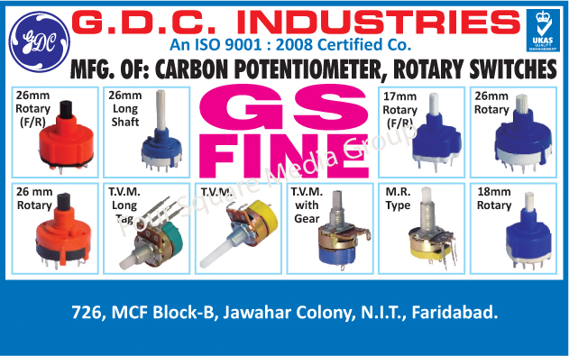 Carbon Potentiometers, Rotary Switches,