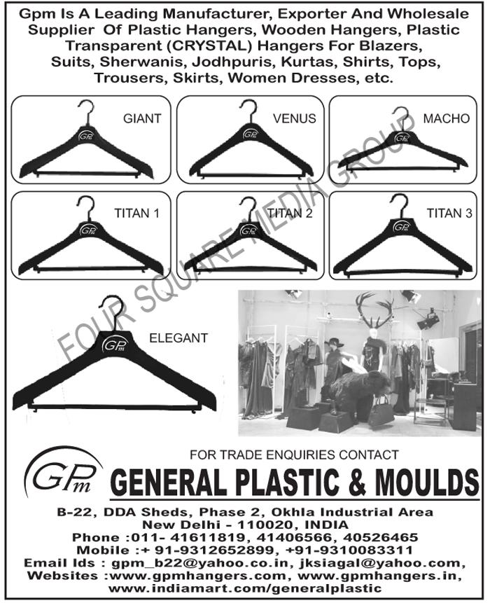 Plastic Hangers, Wooden Hangers, Plastic Transparent Hangers, Plastic Crystal Hangers