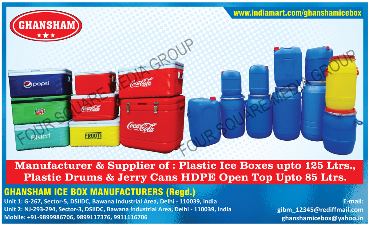 Plastic Ice Boxes, Plastic Drums, HDPE Jerry Cans Open Top