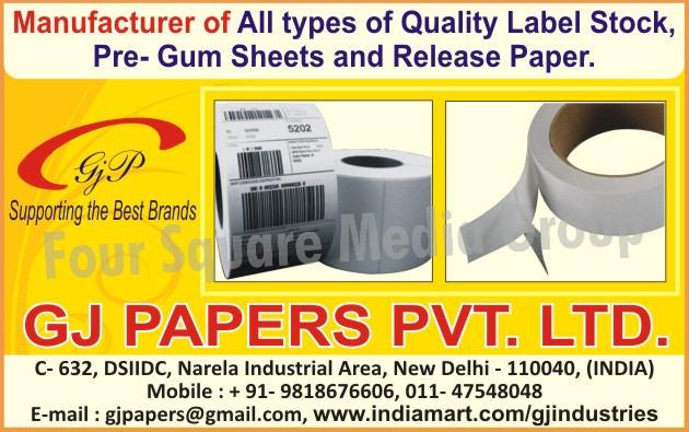 Self Adhesive Papers, Release Papers, Gum Sheets