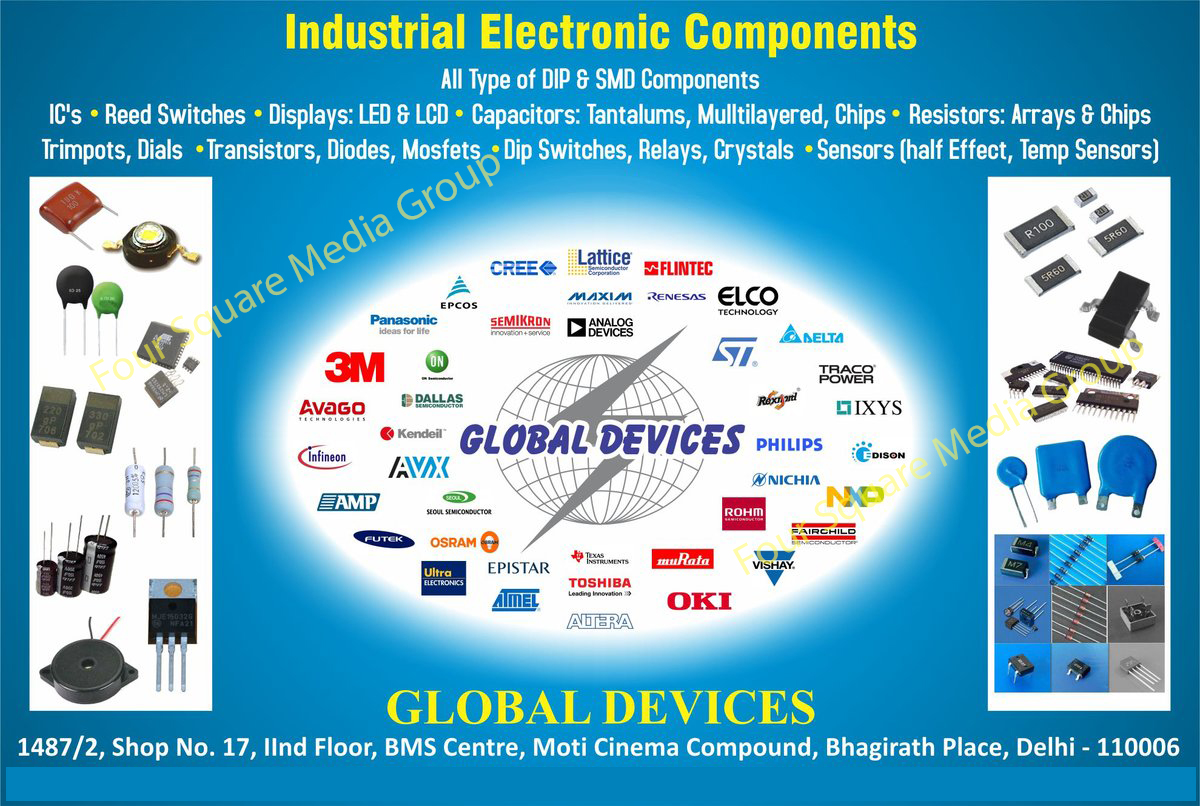 Industrial Electronic Components, Electronic Components, Integrated Circuits, Reed Switches, LED Displays, LCD Displays, DIP Components, SMD Components, Tantalum Capacitors, Multilayered Capacitors, Chips Capacitors, Arrays Trimpot Resistors, Chips Trimpot Resistors, Transistor Dials, Diodes, Dip Switch Mosfets, Relays, Crystals, Half Effect Sensors, Temp Sensors,