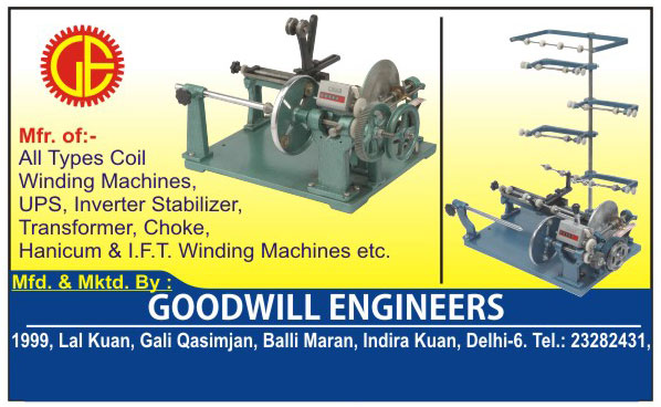 Coil Winding Machines, UPS Coil Winding Machines, Inverter Coil Winding Machines, Stabilizer Coil Winding Machines, Transformer Coil Winding Machines, Choke Coil Winding Machines, Hanicum Coil Winding Machines, IFT Winding Machines, Tube Light Chock Winding Machines, Ceiling Fan Winding Machines,Electrical Products, Electrical Machine, Inverter, Stabilizer, UPS, Transformer, Choke,  Transformer Winding Machines, Heavy Duty Coil Winding Machines