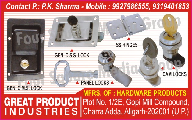 Hardware Products, Cam Locks, Panel Locks, Ss Hinges, Cms Locks, Css Locks,Locks
