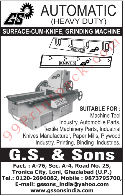 Surface Cum Knife Grinding Machines, Knife Grinding Machines, Industrial Knives